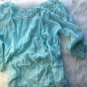 Lightweight teal peasant blouse XL